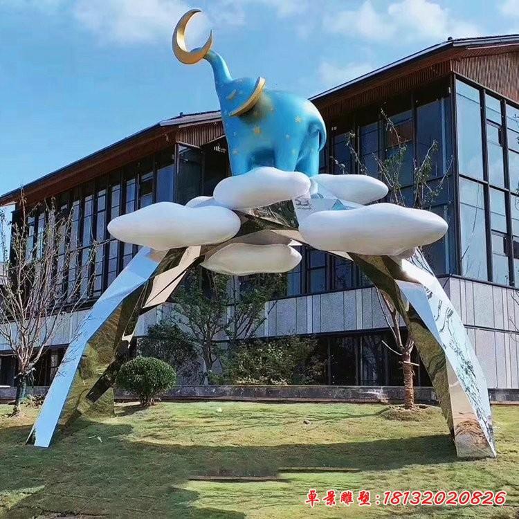 不锈钢抽象云朵大象拱门雕塑