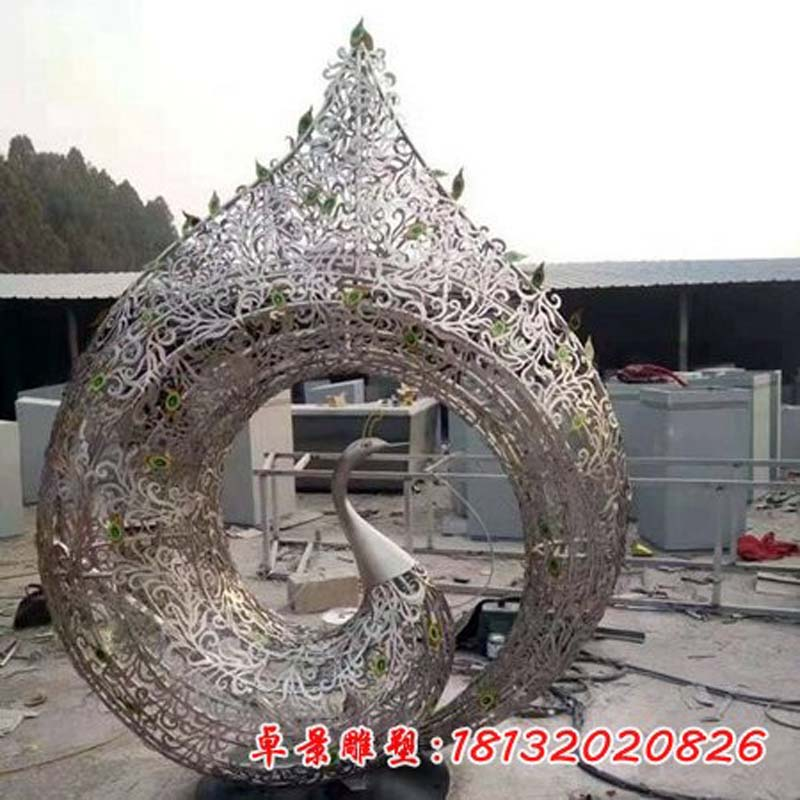 不锈钢镂空孔雀雕塑