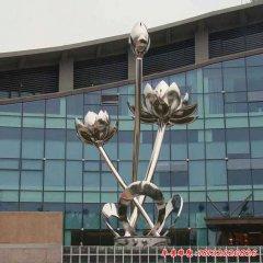 大型不锈钢荷花雕塑