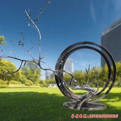 不锈钢树枝圆环雕塑