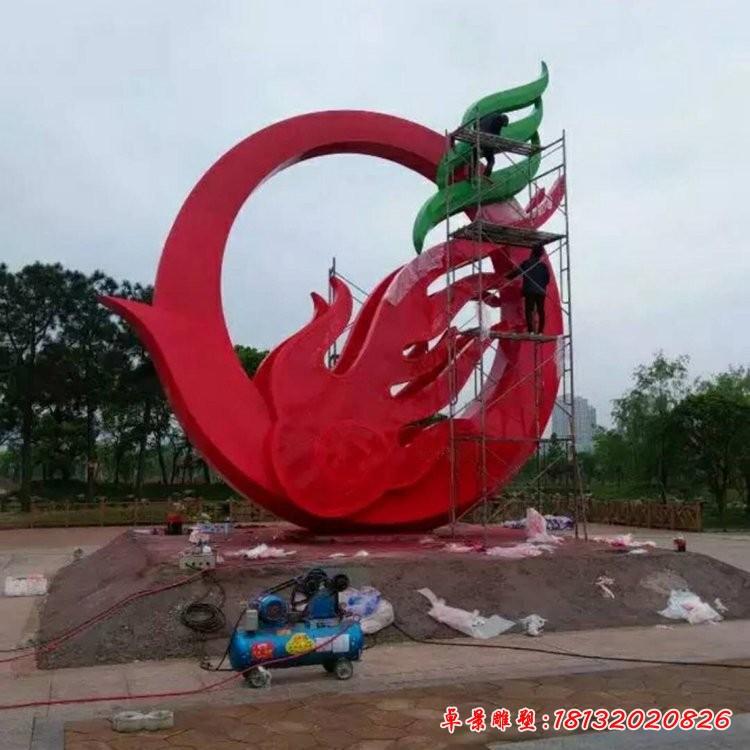 广场抽象凤凰不锈钢雕塑