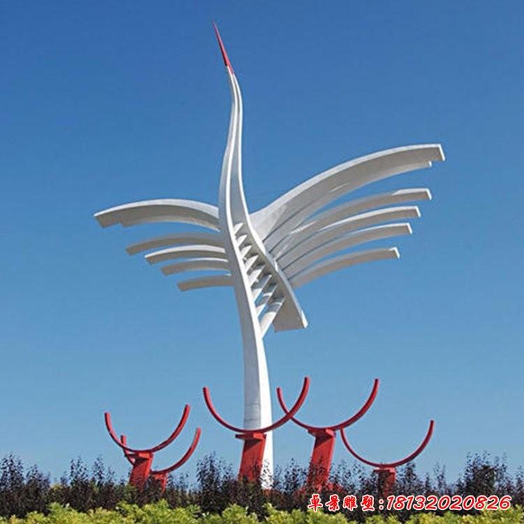 不锈钢抽象仙鹤雕塑