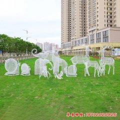 不锈钢镂空动物雕塑