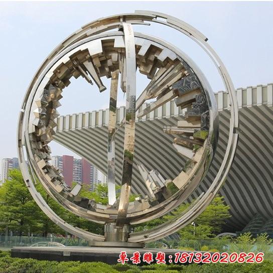 广场不锈钢城市缩影雕塑