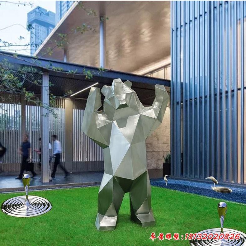 不锈钢几何熊雕塑