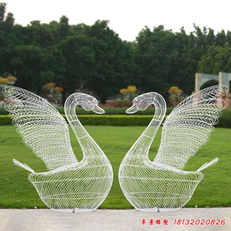 不锈钢抽象天鹅雕塑