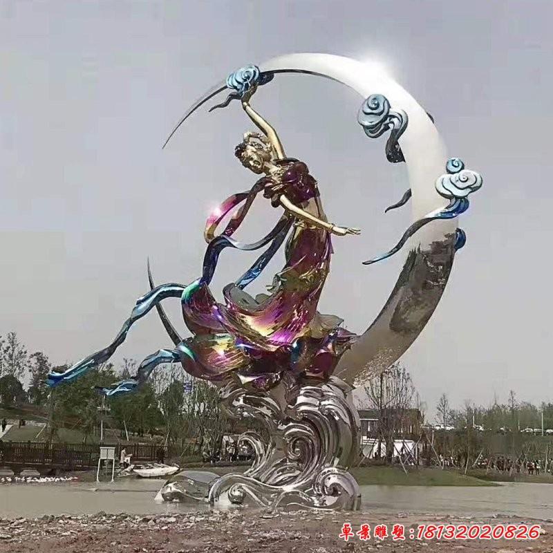 景区不锈钢嫦娥奔月雕塑