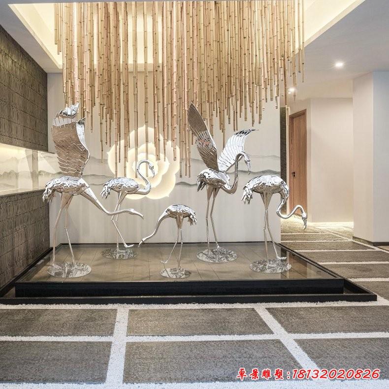 不锈钢镜面火烈鸟雕塑