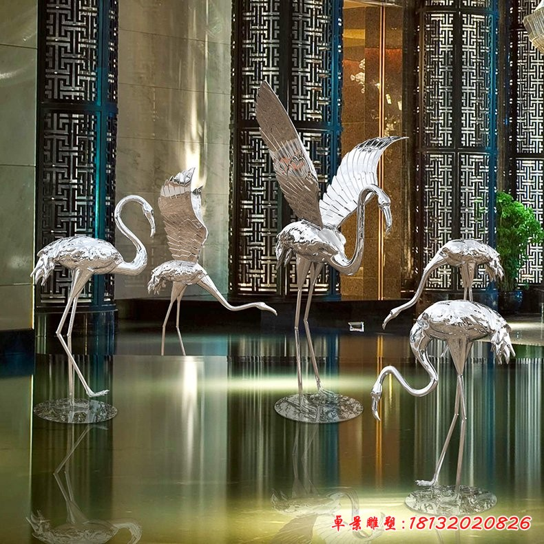 不锈钢抽象火烈鸟雕塑