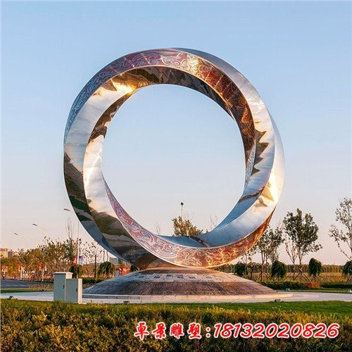 公园不锈钢几何圆环雕塑