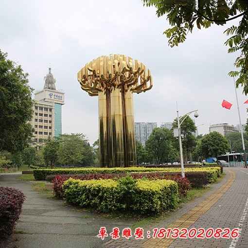 不锈钢钛金色大树雕塑