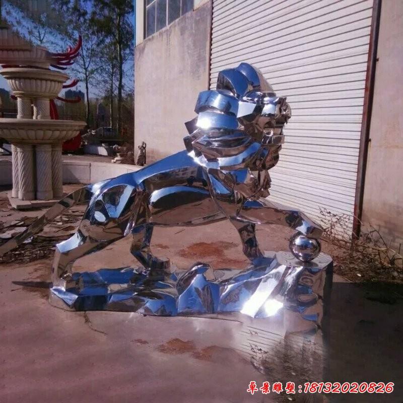 镜面狮子踩球不锈钢雕塑