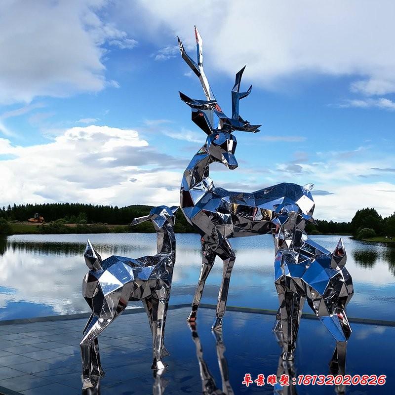 广场不锈钢抽象鹿雕塑