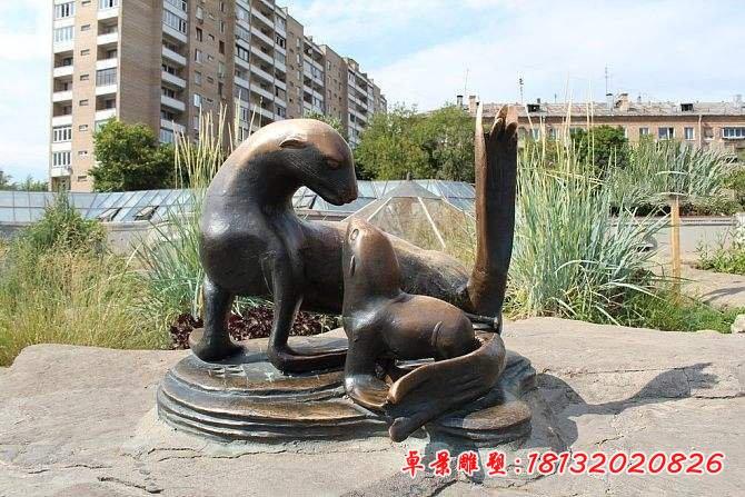 小区海狮铜雕