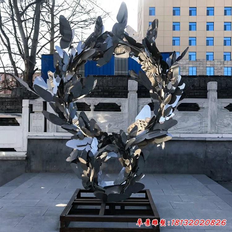不锈钢抽象蝴蝶花环雕塑