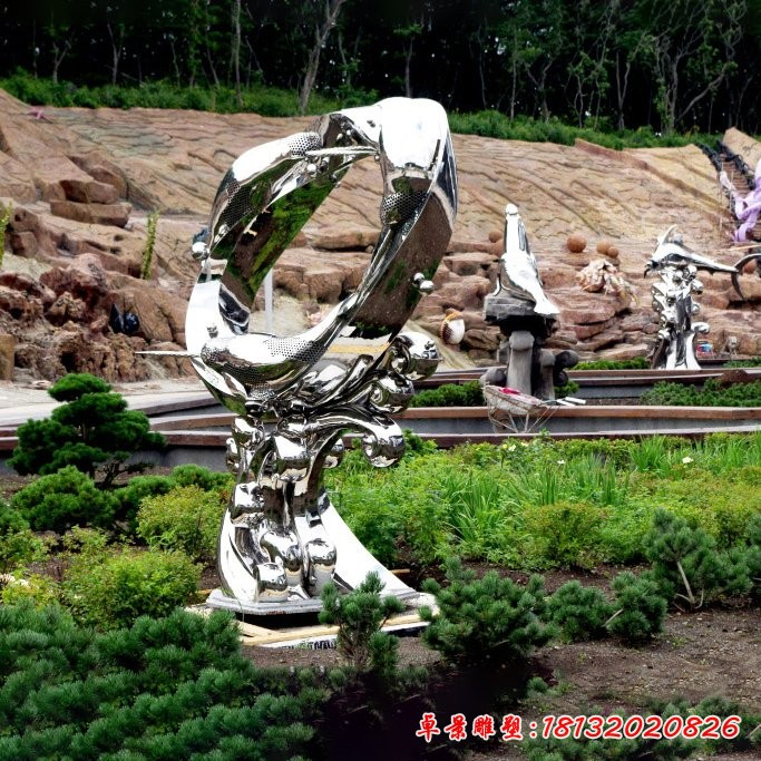 不锈钢抽象跳跃的海豚雕塑