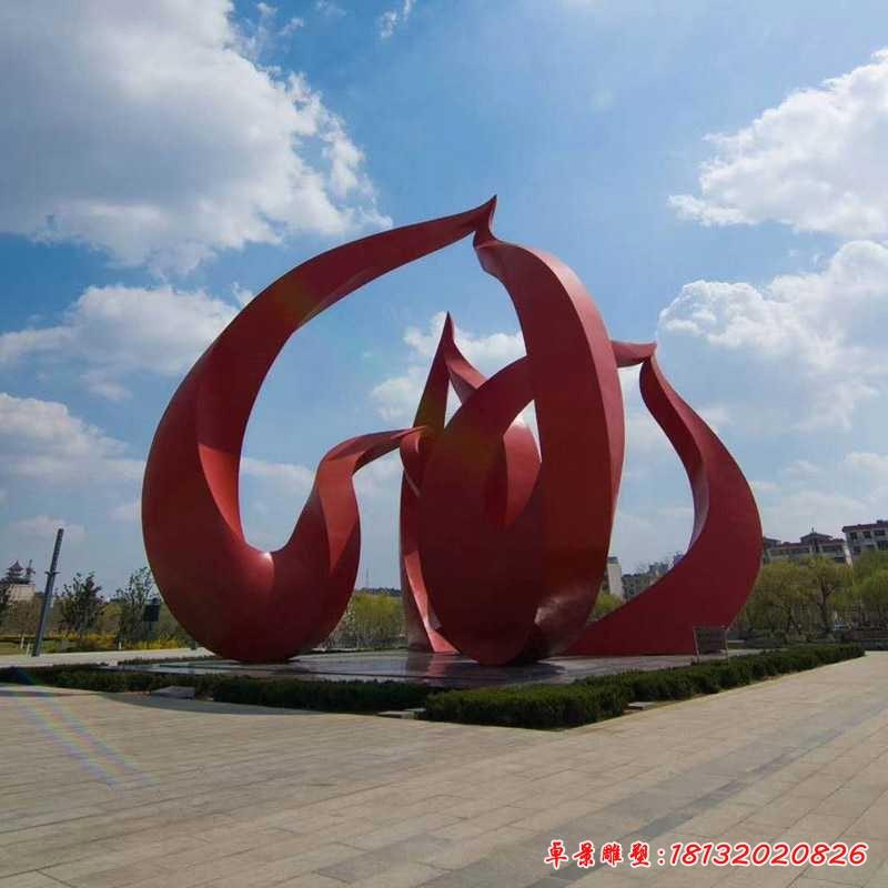 大型红色不锈钢桃子雕塑