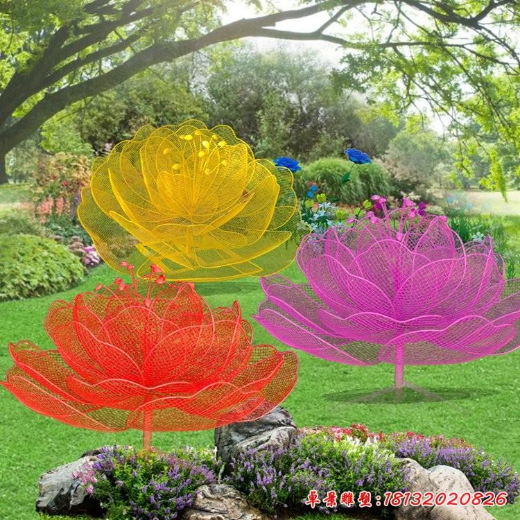 彩色不锈钢镂空花朵雕塑