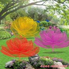 彩色不锈钢镂空玫瑰花雕塑