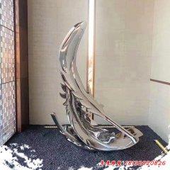 不锈钢镜面羽毛雕塑