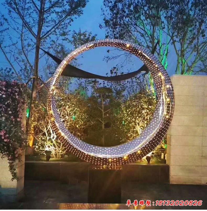 不锈钢灯光圆环雕塑