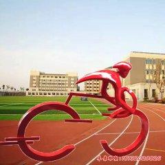 不锈钢抽象骑自行车人物雕塑