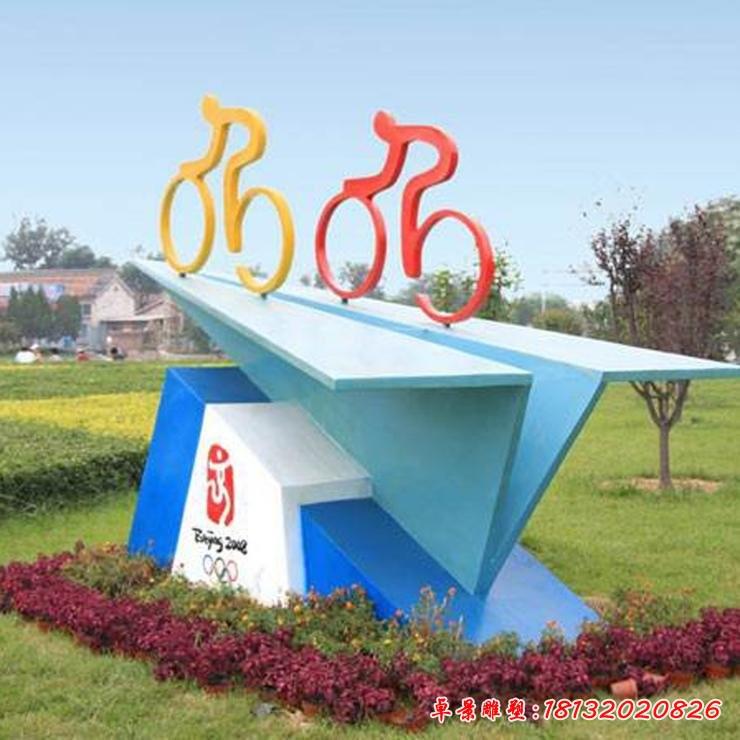 不锈钢自行车人物雕塑