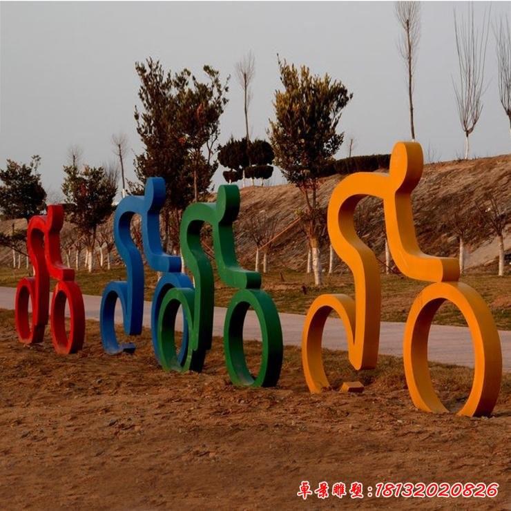 运动人物骑自行雕塑