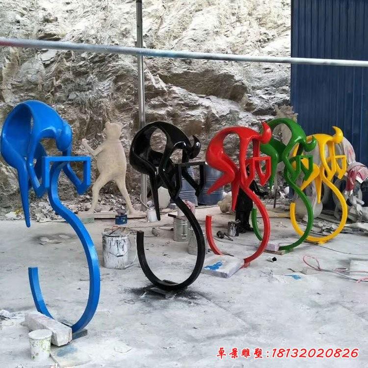 不锈钢骑自行车人物雕塑