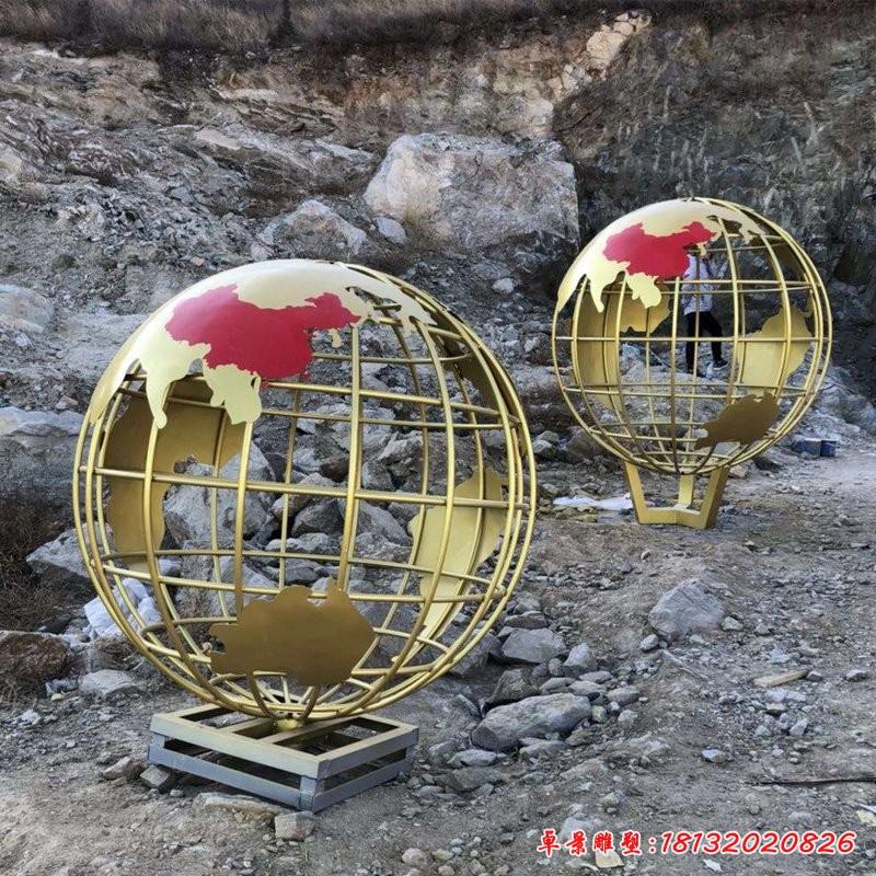 不锈钢钛金色地球仪雕塑