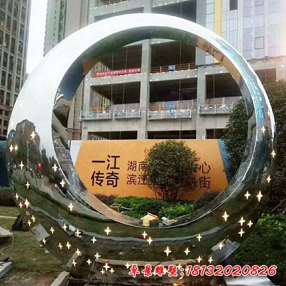 镜面不锈钢圆环雕塑