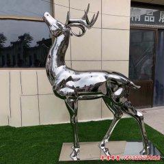 镜面不锈钢梅花鹿雕塑