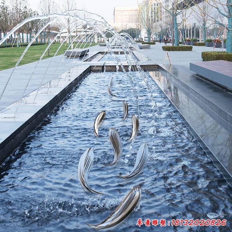 不锈钢抽象鱼雕塑