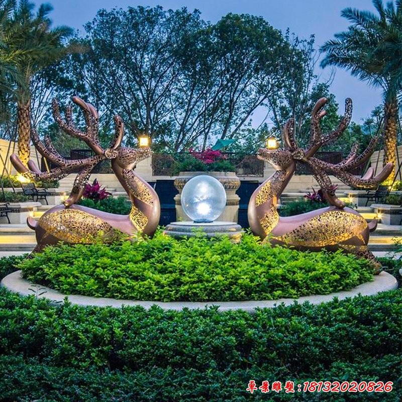 公园镂空鹿不锈钢雕塑