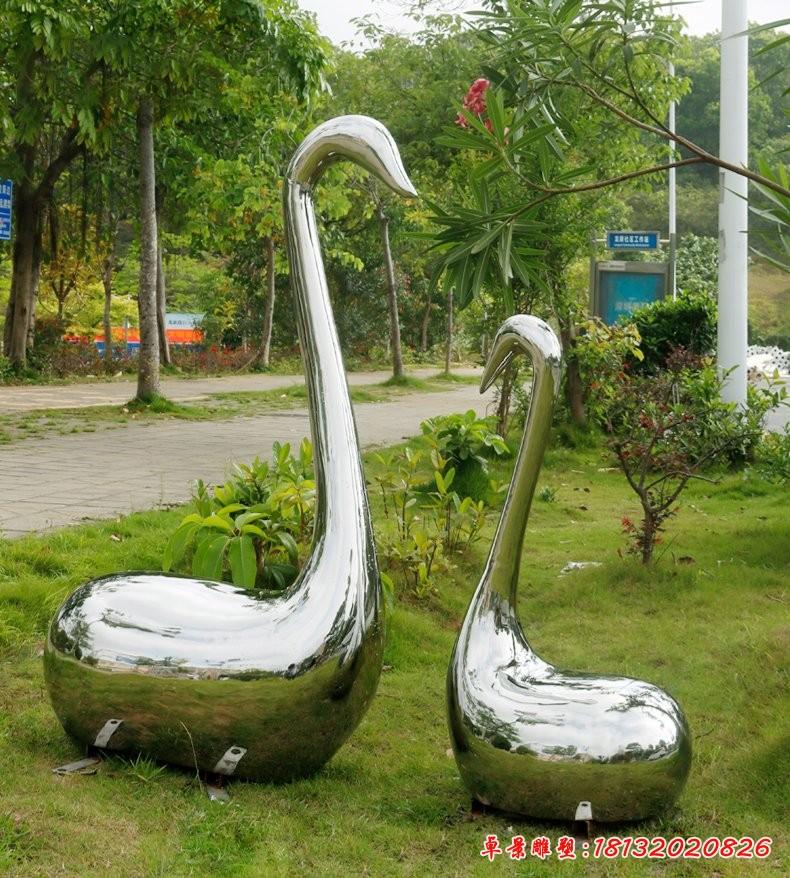 不锈钢镜面天鹅雕塑