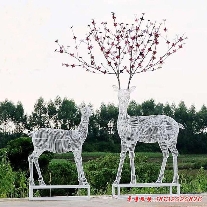 梅花鹿镂空不锈钢雕塑