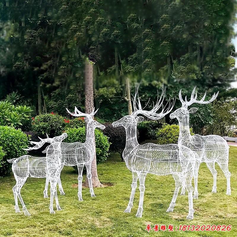 不锈钢树枝梅花鹿雕塑