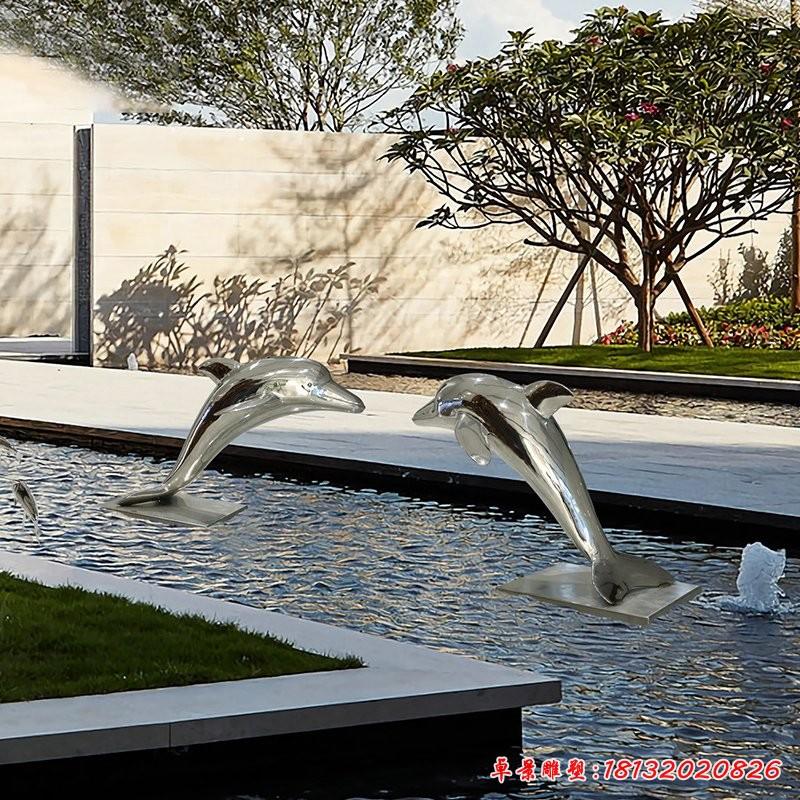 不锈钢镜面海豚雕塑