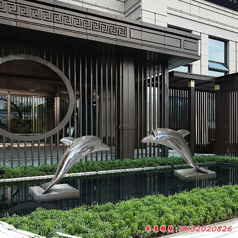 镜面不锈钢海豚雕塑