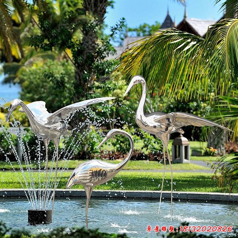 不锈钢仙鹤雕塑