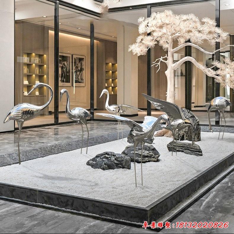 镜面不锈钢仙鹤雕塑