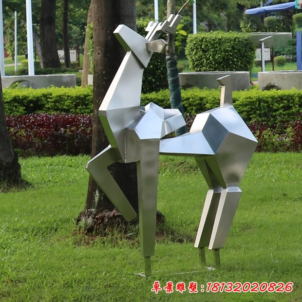 镜面不锈钢抽象鹿雕塑