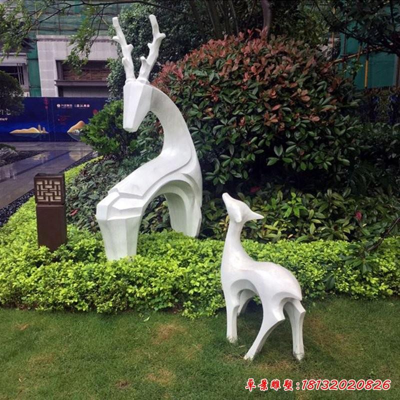 几何回头白鹿不锈钢雕塑
