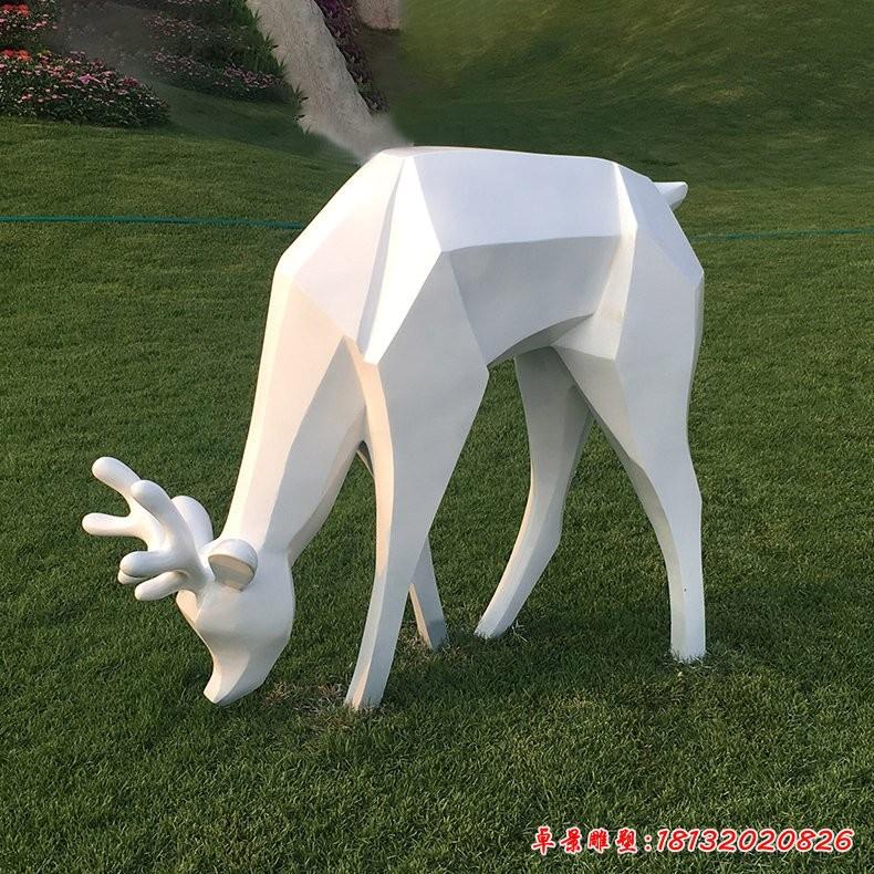 几何低头鹿不锈钢雕塑