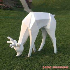 不锈钢几何白鹿雕塑