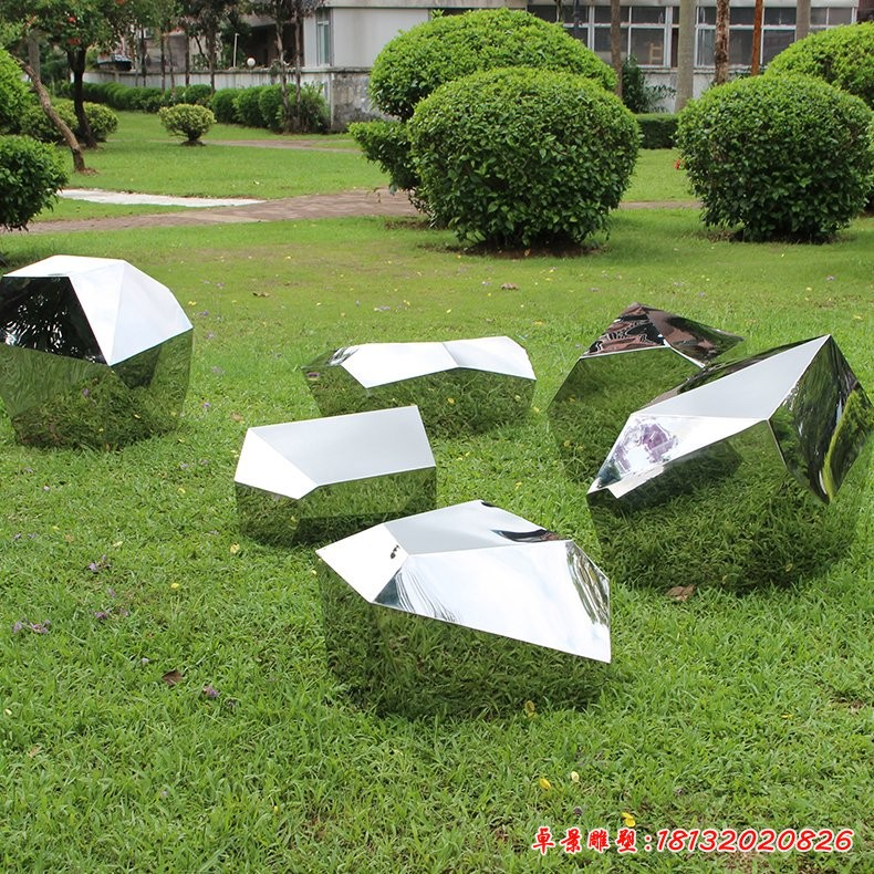 公园不锈钢几何石块雕塑