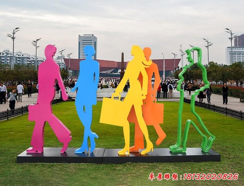 不锈钢剪影购物人物雕塑