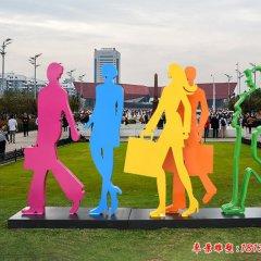 不銹鋼剪影購物人物雕塑