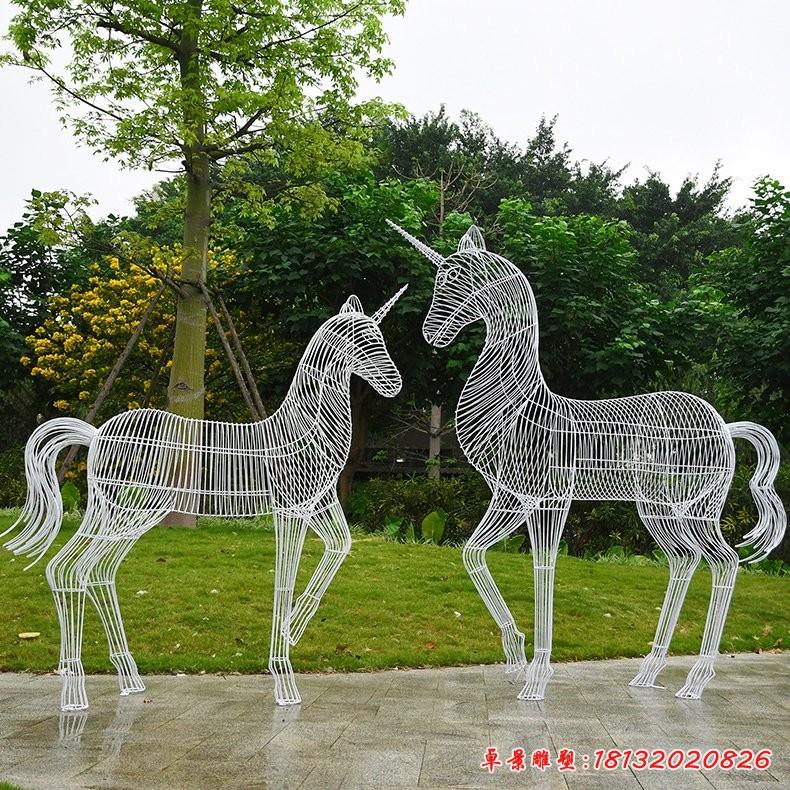 户外独角兽镂空不锈钢雕塑