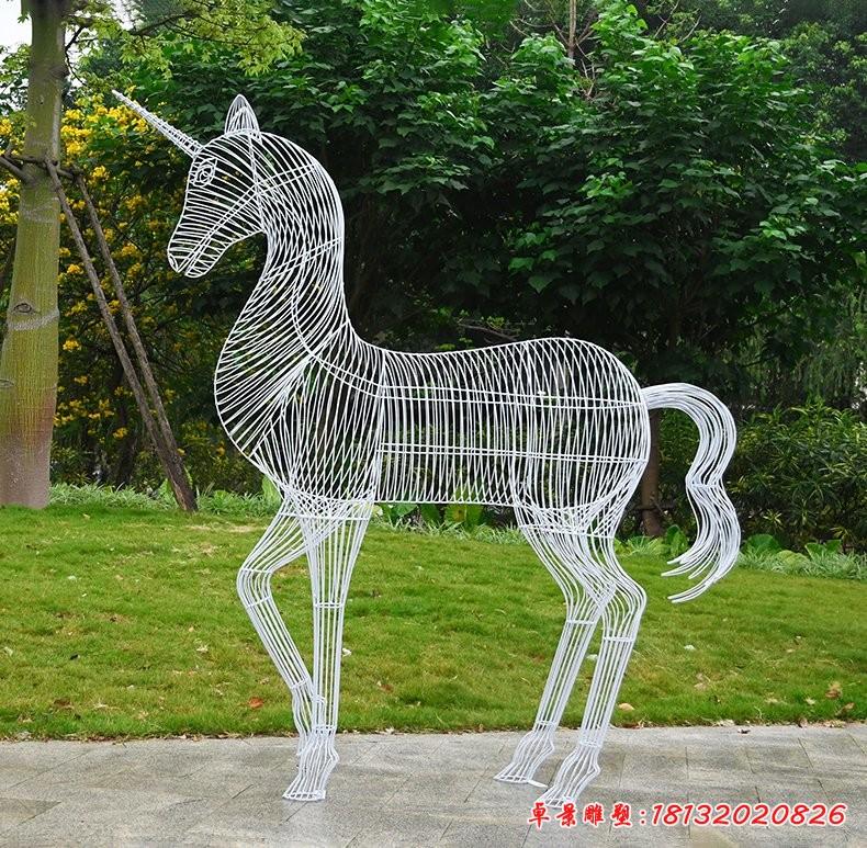 不锈钢镂空独角兽雕塑